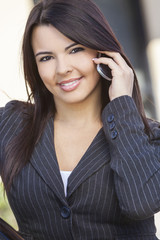Latina Hispanic Woman Talking On Cell Phone