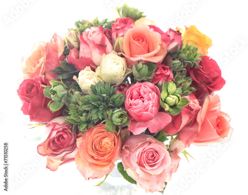 canvas print picture bouquet of colorful assorted roses on white background