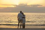 Senior Couple Sunset Tropical Beach