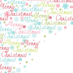 Vector merry christmas text frame corner pattern background