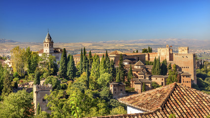 Alhambra Castle Towers Cityscape Granada Andalusia Spain