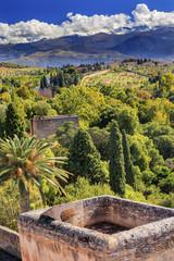 Alhambra Castle Tower Farm Mountains Granada Andalusia