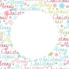 Vector merry christmas text circle frame seamless pattern