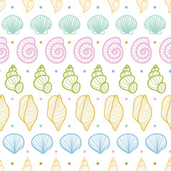 Seashells stripes line art seamless pattern background