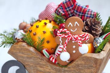 Christmas sleigh with gingerbread man