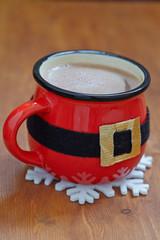 Santa belt mugs with hot chocolate and marshmallows