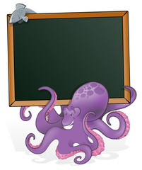 Cute Octopus with Blank Sign.