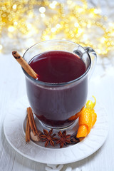 Hot mulled wine with christmas spices