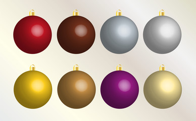 Set of eight colorful Christmas bulbs