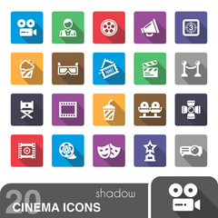 Cinema icons with shadow.