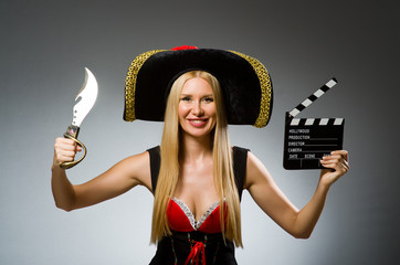 Pirate with movie board and knife