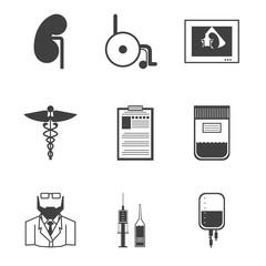 Black icons for nephrology