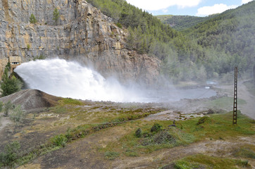 Hydroelectric dam releasing large amounts of water