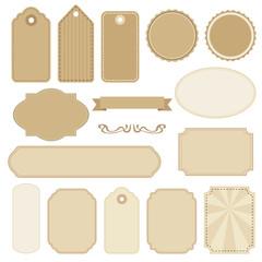 Set of blank vintage frames, tags and labels, vectors