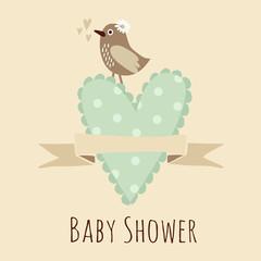 Baby shower invitation, birthday card with bird, heart