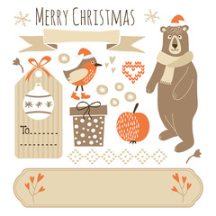 Set of cute christmas graphic elements, vector objects