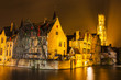 Night view of Bruges canal