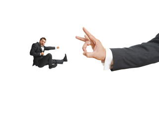 screaming businessman kicking