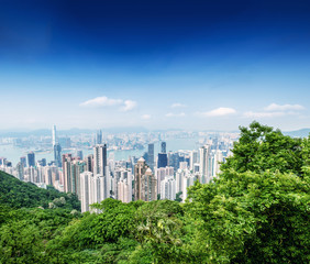 Panoramic view of Hong Kong cityscape on a beautiful sunny day