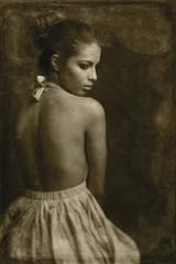 Vintage Studio Portrait of a Woman in Dress