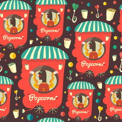 Retro seamless pattern with popcorn seller.
