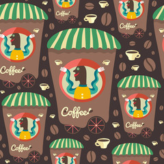 Retro seamless pattern with coffee seller and cups.