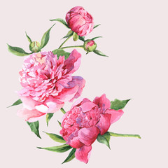 Pink watercolor peonies vintage greeting card