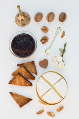 Baked Camembert with Plum Jam, Toast and Walnuts
