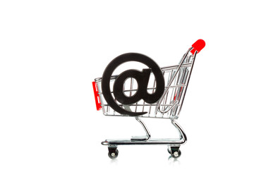 shopping cart with email symbol
