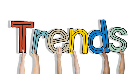 Diverse Hands Holding the Word Trends
