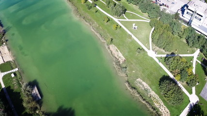 Top aerial view over water