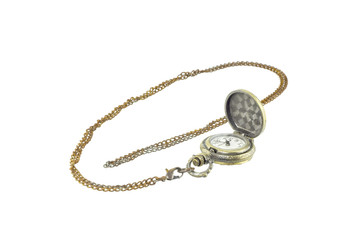 Antique necklace watch isolate on a white background