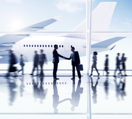 Silhouettes of Business People in the Airport