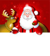 Cartoon Santa Claus and Reindeer over white board