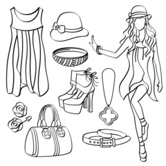 Fashion Lady with Clothing and Accessories