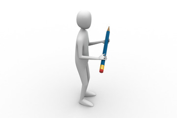 3d man carrying the pencil