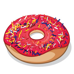 Strawberry Frosted with Sprinkles Doughnut Vector