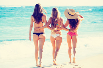 Beautiful Sexy Group of Girls on the Beach