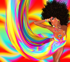 Afro Hairstyle,Sexy Girl,Disco