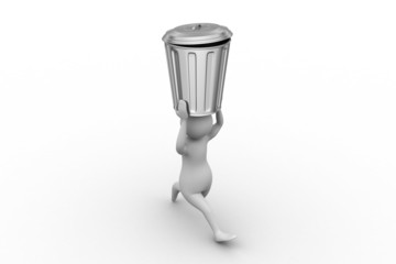 3d man with trash bin