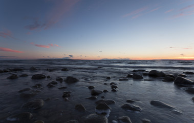 Swedish ocean scene just after sunset