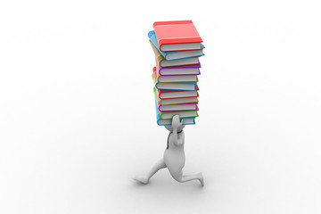 3d man carrying books