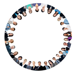 Multi ethnic business people forming circle