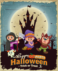Vintage Halloween poster design with castle, kids in costume