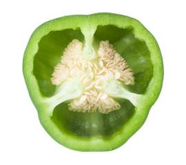 Cross-section of green pepper