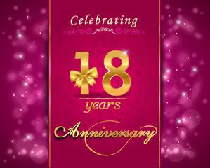 18 year anniversary golden label, 18th anniversary card