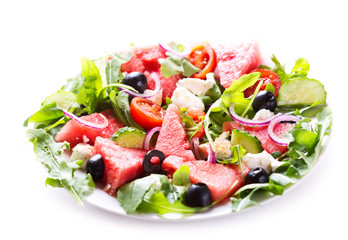 plate of watermelon salad