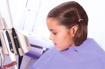 cute little girl in dental office