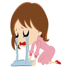涙に溺れる若い女性