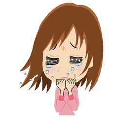 悲しむ若い女性